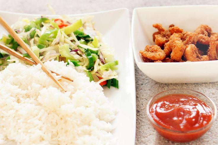 Gewoon wat een studentje 's avonds eet: Gepaneerde garnalen met Thaise groentes en rijst