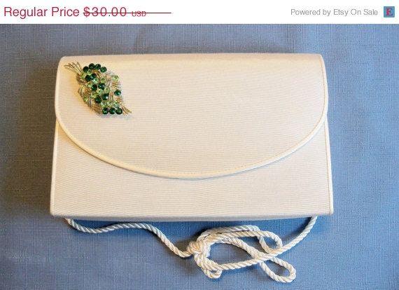 40% Off MHYO Designer Purse Off White With Green Rhinestone Leaf Brooch  Fall Spring Wedding