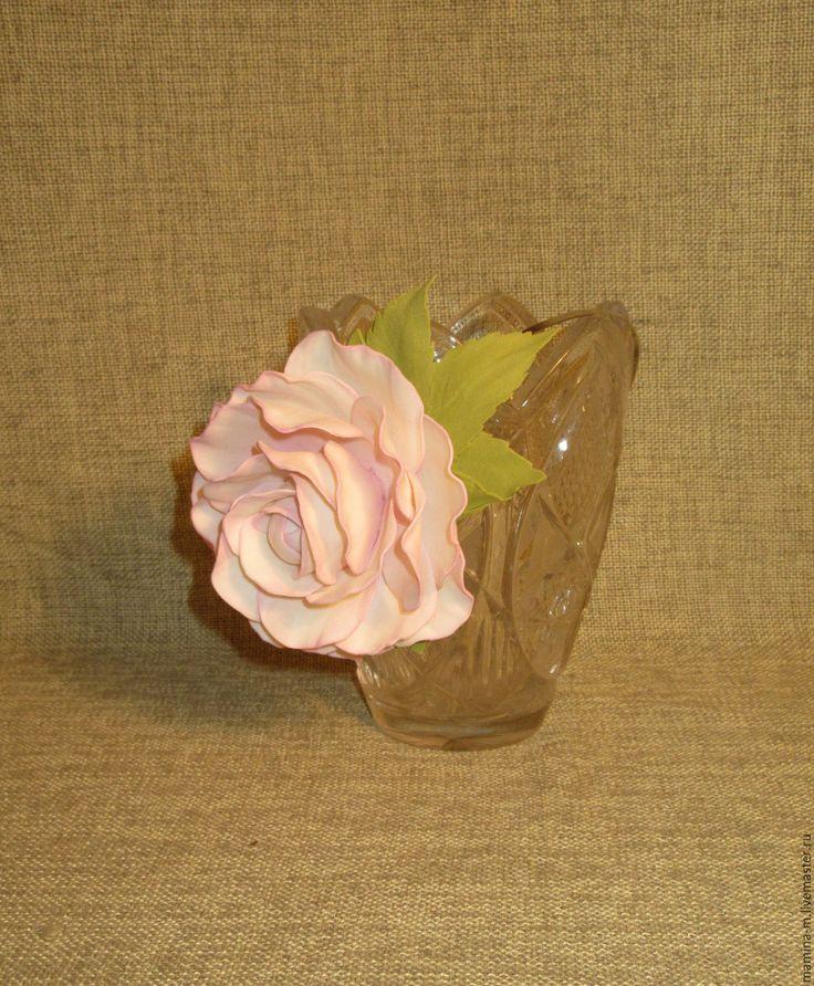 """Купить Ободок для волос """"Утренняя звезда"""" - белый, роза, роза ручной работы, роза из фоамирана"""