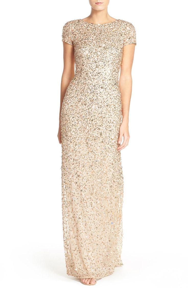 Short Sleeve Sequin Mesh Gown