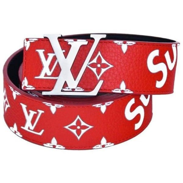 Preowned Louis Vuitton X Supreme Red Belt Sz 95 New With Tags/box ($1,960) ❤ liked on Polyvore featuring accessories, belts, red and red belt