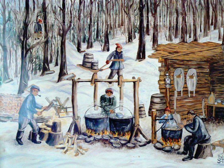 Tableau représentant le temps des sucres autrefois, c'est-à-dire à l'extérieur, dans la neige. L'eau d'érable est bouillie dans de gros chaudrons et amené sur le site sur de petits traîneaux après sa collecte.