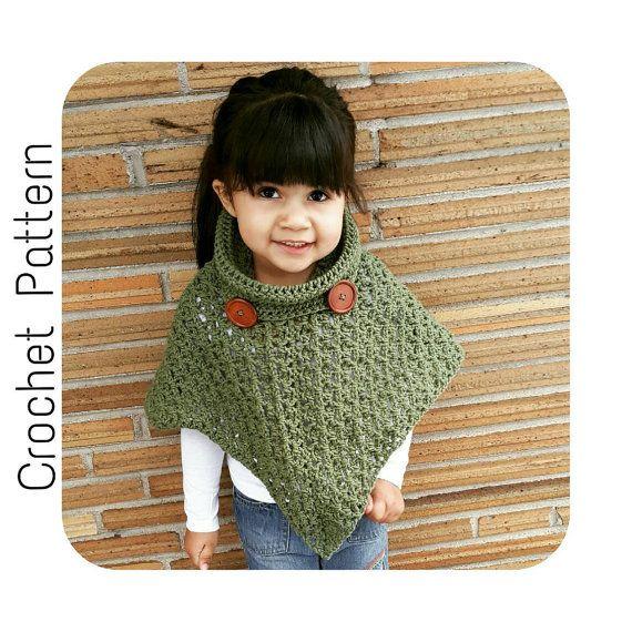 Crochet PATTERN | Cowl Neck Poncho | Women's Poncho Pattern Size 6-16 | Girl's Size 2-16 Poncho Pattern | PDF Digital Download