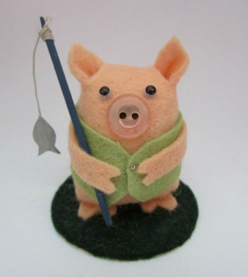 Fred the Fishing Pig  Fishing Cake Topper  Fishing by ThingymaPig, £15.00