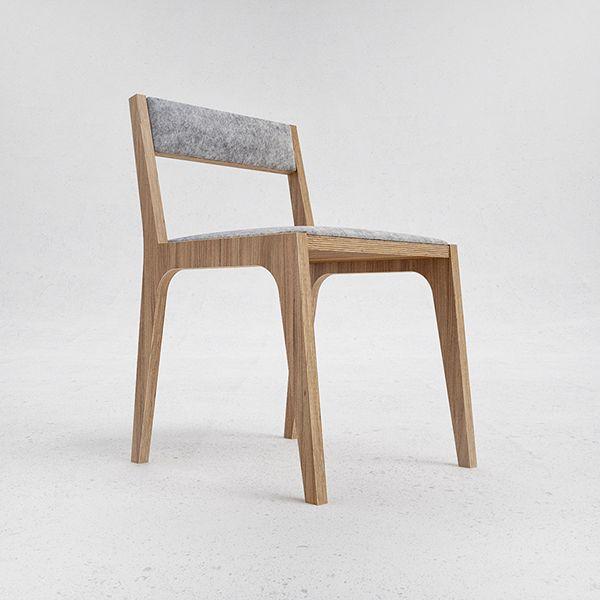 Oak veneered plywood chair felt seat and back.