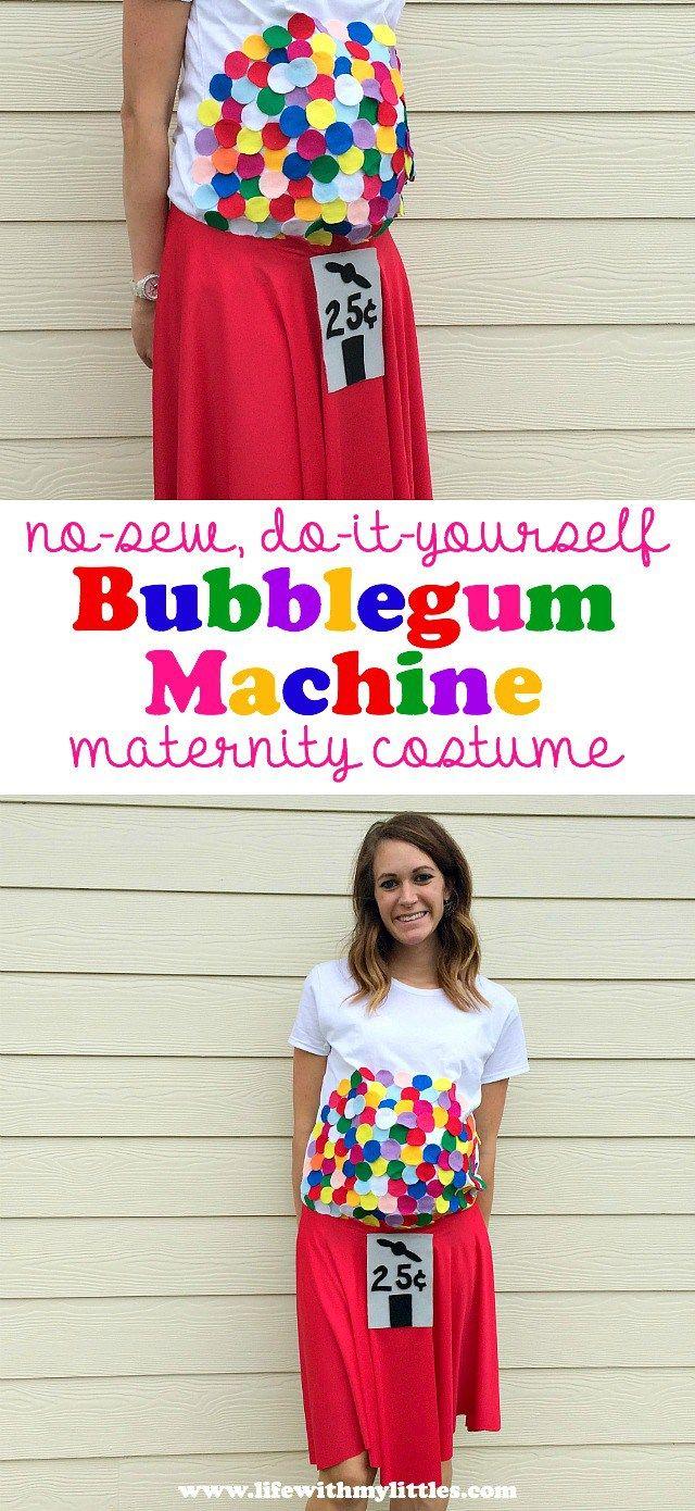 diy bubblegum machine maternity costume
