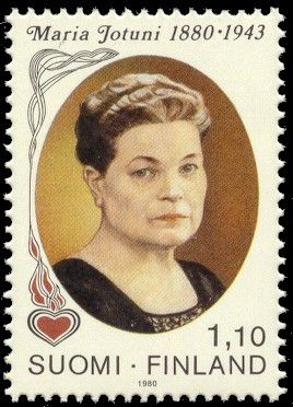 Postage stamp portraying the Finnish novelist and playwright Maria Jotuni, 1980