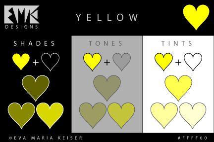 "Eva Maria Keiser Designs: Explore Color: "" Shades, Tones, Tints of Yellow"""