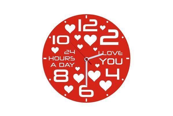Kalp Kırmızı Kadife Duvar Saati 33 cm | cazip geldi