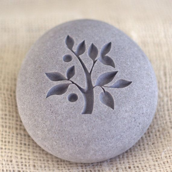 TREE OF LIFE - Engraved pebble stones by sjengraving @ $25.00 (want one in white).