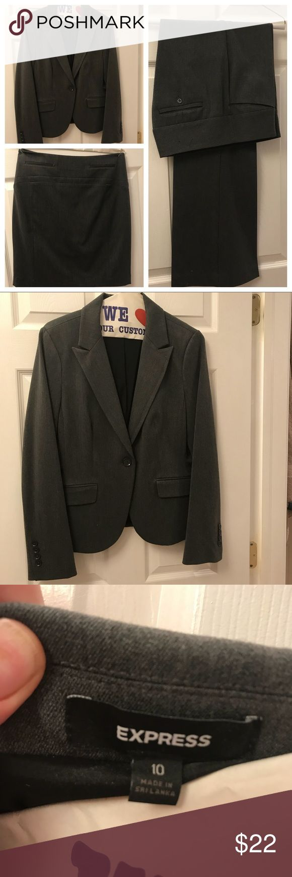 """EXPRESS 3pc suit Worn once for an interview! Fresh from the dry cleaner. Beautiful EXPRESS suit set in gray.  Skirt, jacket and pants in """"editor"""" style. Excellent pristine condition. Comes with suit bag!  Jacket size- 10 Pants size- 6 Skirt size- 4  Fits me well as a medium build and tall.  Can be tailored for your personal fit. Express Jackets & Coats Blazers"""