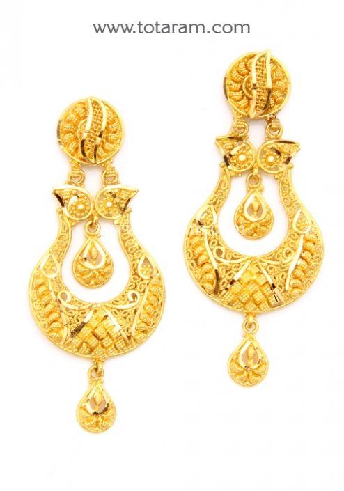 ChandBali Earrings - 22K Gold Drop Earrings: Totaram Jewelers: Buy Indian Gold jewelry & 18K Diamond jewelry