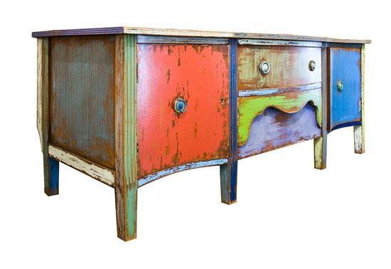 Upcycled Vintage Furniture   Upcycled Painted Wood Sideboard : The Old Cinema – Antique Furniture ...