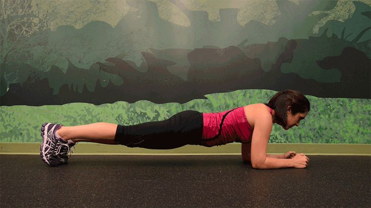 The goal of this variation, also called the Spiderman plank, is to bring the knee as close to the elbow as possible. Focus on keeping your hips level as you alternate legs for 30 seconds. To ease off a bit, start in full plank position, which will give you more room to move your legs. Or to make it even more challenging, in full plank position, bring that knee to the opposite elbow.