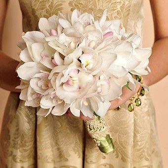 """Love the lace wrapping and """"hint of pink"""" orchids. Possible bouquet flower."""