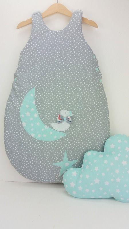 Gigoteuse naissance 0-6 mois,coquet avec son oiseau sur la lune : Mode Bébé par 1-2-3-picoti