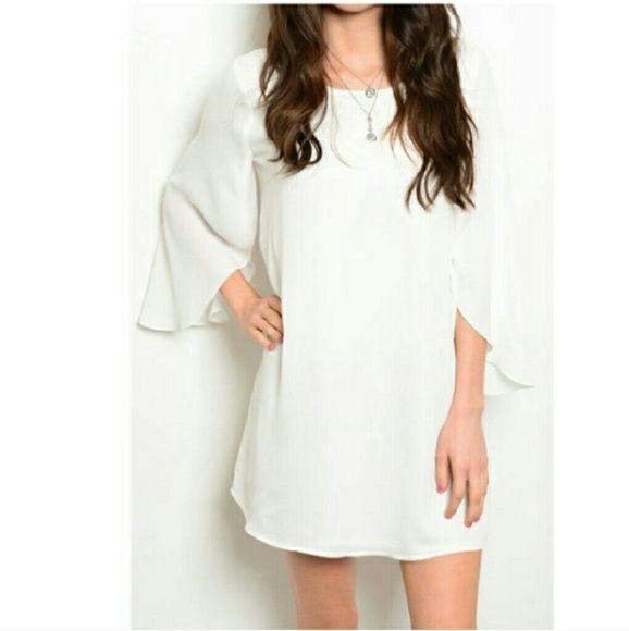 Chiffon Dress Chiffon dress in ivory. True to size. Boutique Dresses Mini