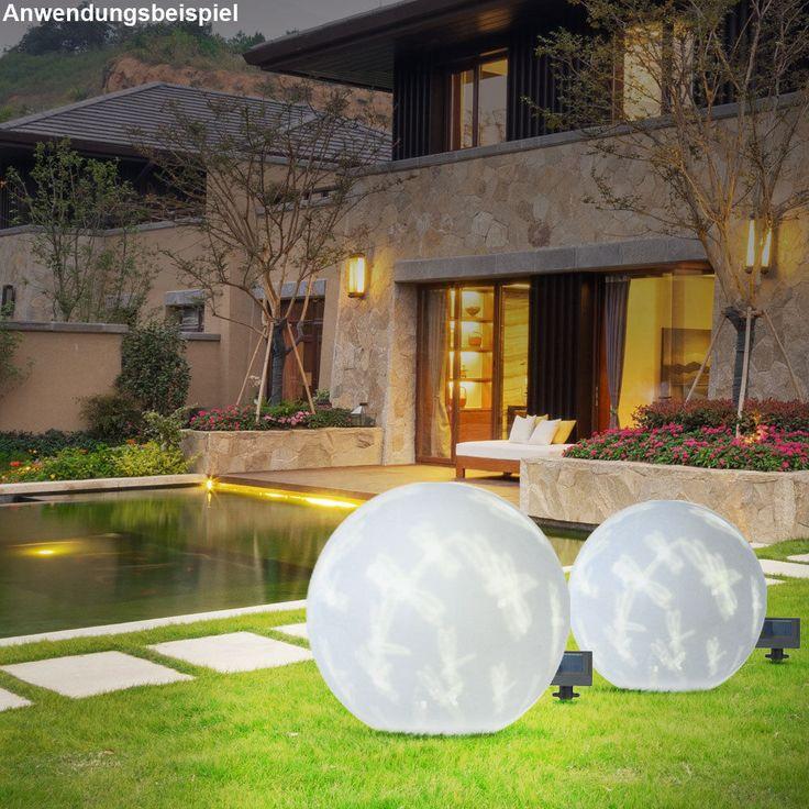LED Solar Leuchte Kugel weiß Terrasse Dekoration Libelle Motiv Außen Strahler 5