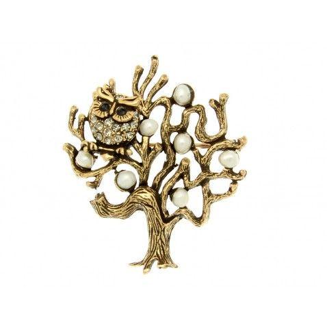 Spilla in ottone dorato con gufo di strass e zaffiri su albero con frutti di perle halloween alcozer & j http://www.alcozershop.com