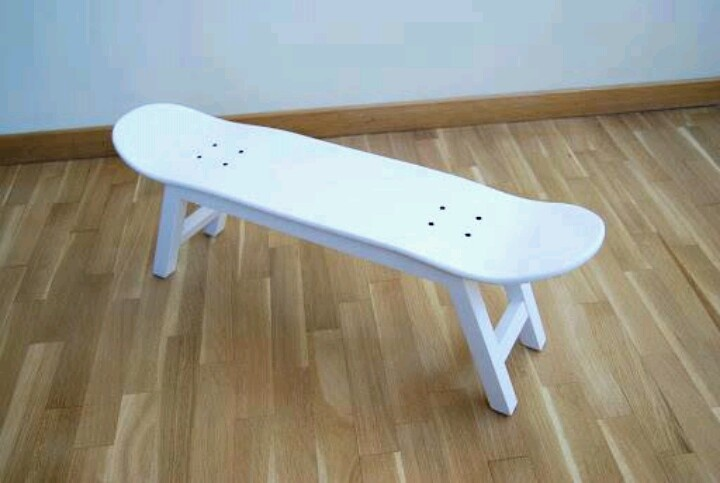 Chair or bench made out of a skateboard! Perfect for the boy's room