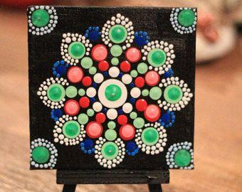 Aboriginal Mandala Dot Art, Hand Painted , Art Acrylic Mini Canvas, Table decor,
