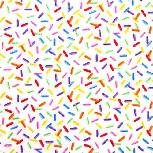 White designer fabric with funny colourful sprinkles ...
