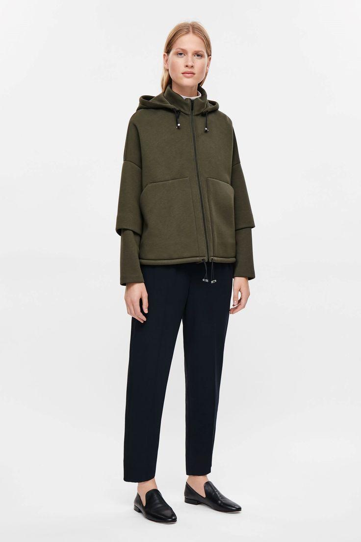 COS image 4 of Oversized hood jacket in Khaki Green