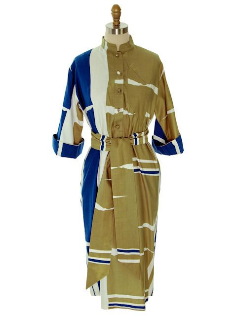 Vintage Catherine Ogust /Penthouse Gallery Shirt Dress Abstract Blue/ Taupe 1970s by BestVintageEver on Etsy
