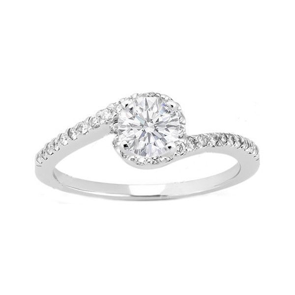 Engagement Ring - Round Diamond Swirl Engagement Ring and Matching Wedding Band in 14K White Gold 0.28 tcw. - ES345BS ($1,412) found on Polyvore