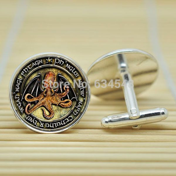 H.P. Lovecraft Cthulhu in silver Cufflinks glass Cabochon
