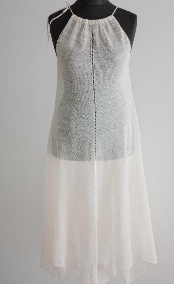 0d2d8ef322 White Linen Dress/Transparent Dress/Beach Dress/Sleeveless Dress/Strappy  Dress/Summer Knit Dress/Racerback Summer Dress/Knit Dresses in 2019 |  Wedding ...