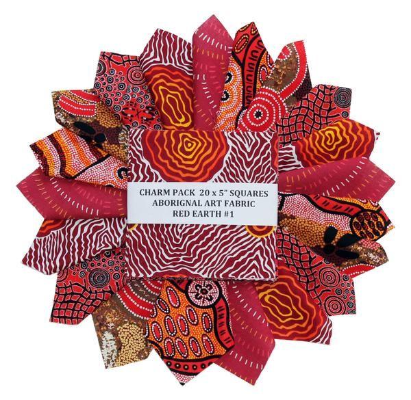 "RED EARTH #1 - 20 Charm Squares 5"" x 5"" – TUPPY'S AUSSIE FABRICS"