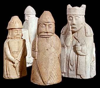 Carved walrus-ivory game pieces found on the Isle of Lewis in the Hebrides.