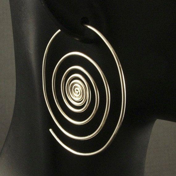 Silver Hoop Earrings / Super Spirals / Sterling by MetalRocks, Vancouver Island Etsy Team Member