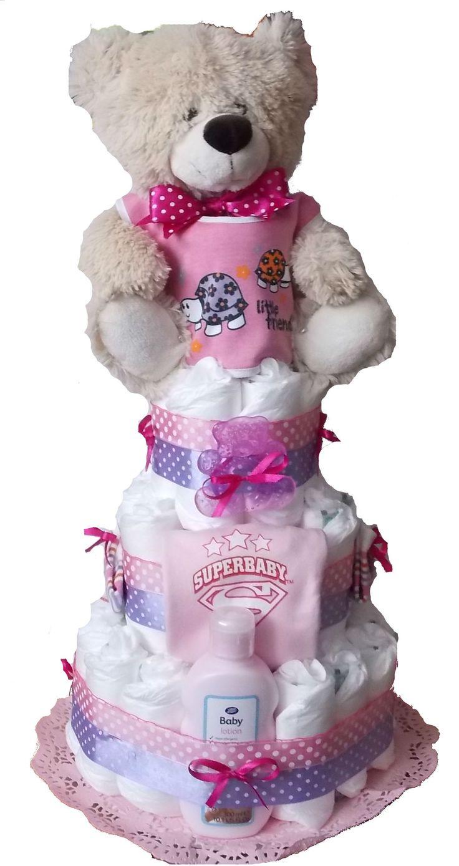 Tort din scutece cu urs Pink