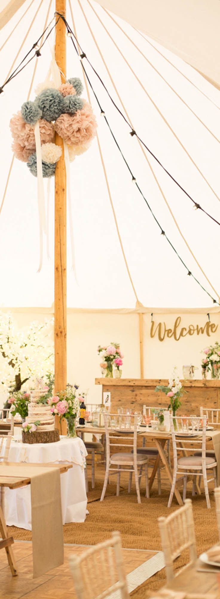 OFFER: 10% off marquee hire for May, June and July weddings in 2018. Quote code LEMON DRIZZLE -   Our Petal pole marquee beautifully dressed for a country wedding reception. We supplied bare reclaimed-wood tables and limewash chiavari chairs to give it a warm rustic feel.