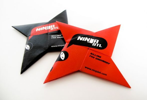 These cards are folded into ninja stars for a Lithuanian agency called Ninja BTL.