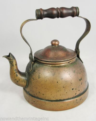 "Vintage Tagus Portugal R51 Copper TEA Kettle POT Wood Handle 7 5"" X 6"" 