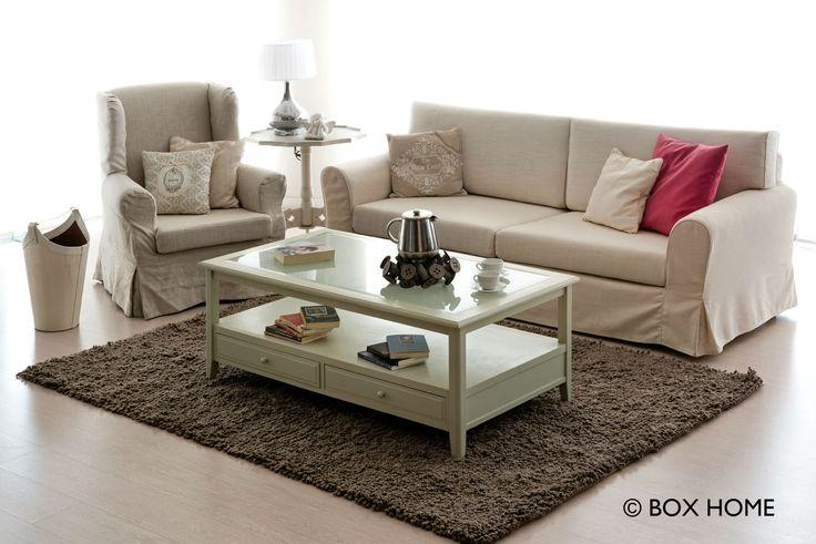 Kαθιστικού WAVE με 3-θέσιο καναπέ, μπρεζέρα Marlen & τραπεζάκι σαλονιού Crystal  romantic style for living room