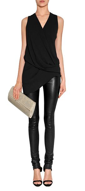 Helmut Lang Top & Leather Leggings