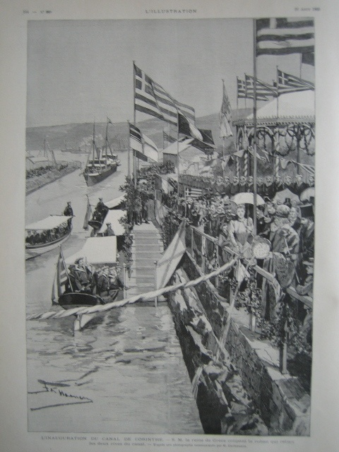 "OLD PRINT VINTAGE ORIGINAL FRENCH MAGAZINE ""L'ILLUSTRATION"" NUMERO OF THE YEAR 1893.    NICE ENGRAVING FULL PAGE ""INAUGURATION DU CANAL DE CORINTHE AVEC S.M LE REINE DE GRECE"" - eBay"