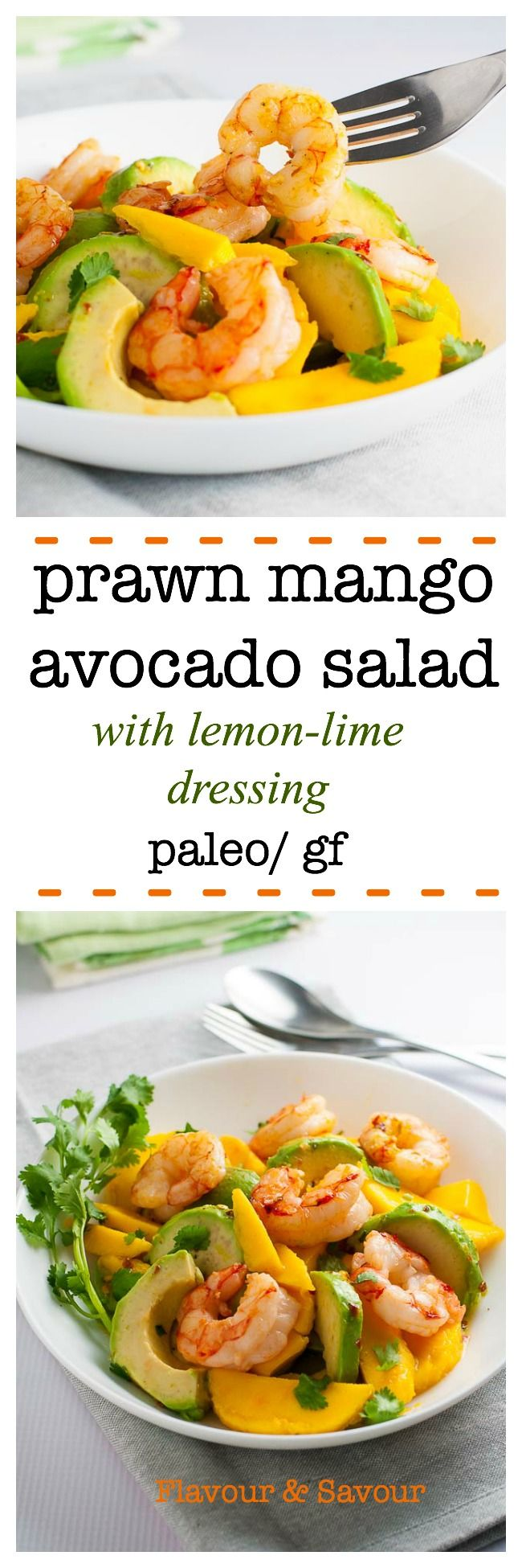 Prawn Mango Avocado Salad with Lemon Lime Dressing. Done and on the table in 15 minutes! Paleo/ gluten-free. via @enessman