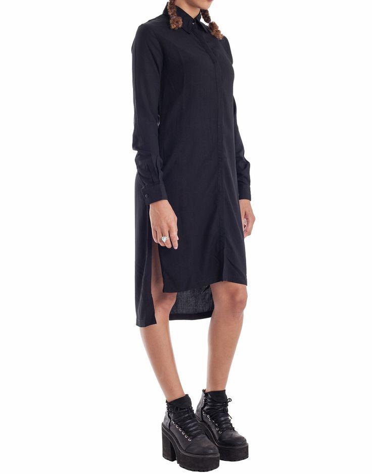 Nemis Side Split Shirt Dress Black