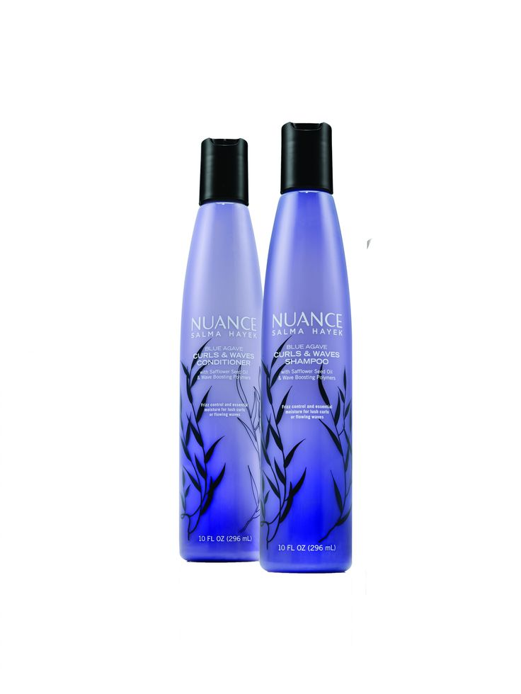 Salma Hayek's Nuance Blue Agave Curl Shampoo ($6) and Conditioner ($6)—a wallet-friendly pairing you can snag at your local CVS. | Victoria's Secret Models Swear By This $6 Shampoo for Bombshell Waves via @ByrdieBeauty