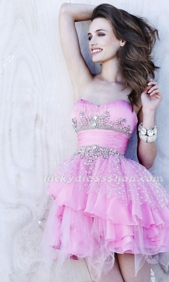 Pink Ball Gown Short/Mini Tulle Cocktail Dress With Crystal (MF5841)
