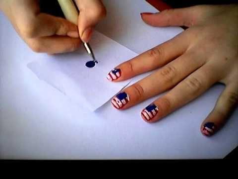 como hacer la bandera de Estados Unidos en tu uñas. Tutorial