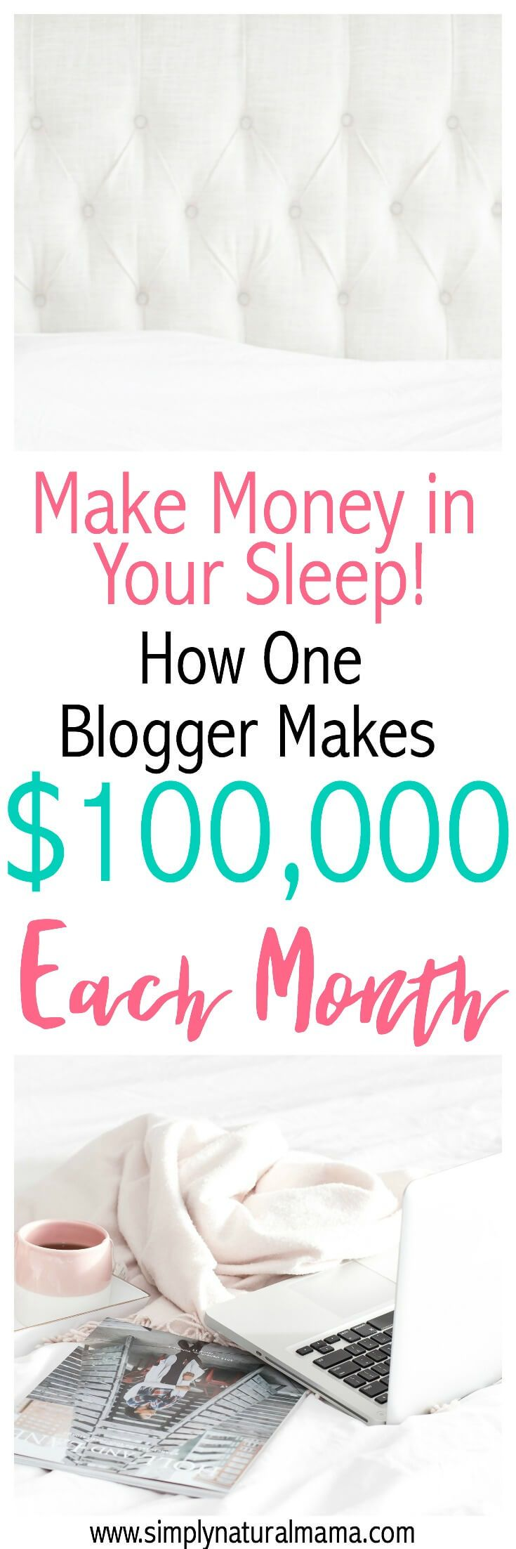 This was an unbelievable interview!  I can't believe that someone makes $100,000 each month blogging, and half of that she earns in her sleep.  This was truly inspiring and makes me want to monetize my blog and start doing affiliate marketing! via @simplynaturalma