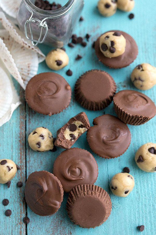 No Bake Cookie Dough Chocolate Cups