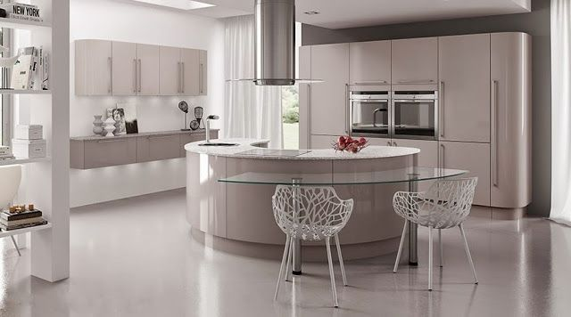 Barra de cocina en cristal, que permite formas curvas y da un ...