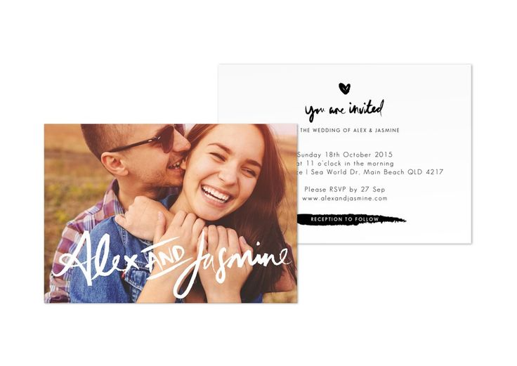 Cute wedding invite with photo & brush typography